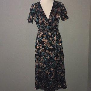 LULUs burn out sheer Floral wrap dress M